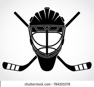 ice hockey goal keeper helmet with crossed hockey sticks logo