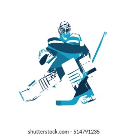 Ice hockey goalie, abstract blue vector illustration