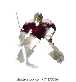 Ice hockey goalie in dark red jersey, abstract polygonal vector illustration