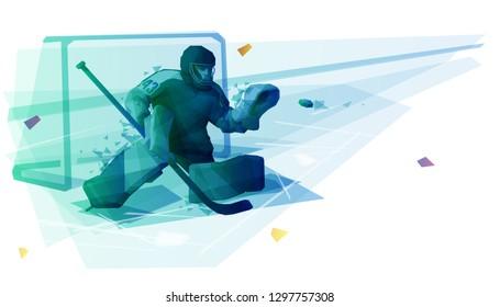 Ice hockey goaltender catching the puck