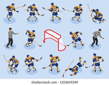 Ice Hockey isometric icons set with  defensing players forwards goaltender goalie puck referee on rink vector illustration