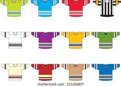 Ice hockey jerseys,set of 12 vector/set of 12 ice hockey jersey