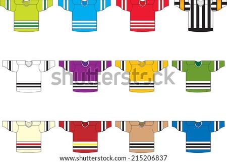 Ice Hockey Jerseysset 12 Vectorset 12 Stock Vector Royalty Free