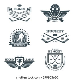 Ice hockey labels and design elements, emblems, symbols, icons, badges and logo template collection.