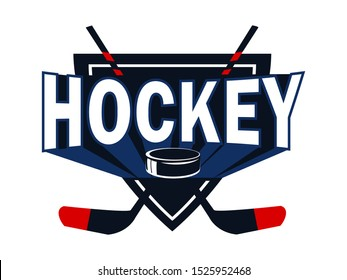 Ice hockey league flat logotype vector template. Hockey sticks and puck illustration with typography. Professional sport club insignia concept. T shirt print design. Competitive game accessories