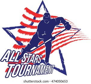 Ice hockey logo with player silhouette above star and red stripes. Vector image