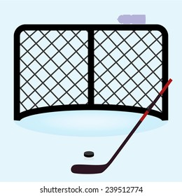 ice hockey net gate with hockey stick and puck eps10
