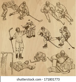 ICE HOCKEY (part 2). Collection of hand drawn illustrations (originals, no tracing). Description: Each drawing comprise of two or three layers of outlines, colored background is isolated.