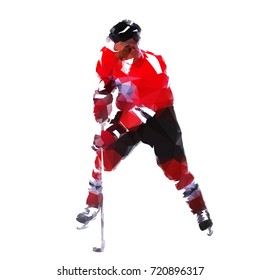 Ice hockey player, abstract geometric polygonal vector silhouette
