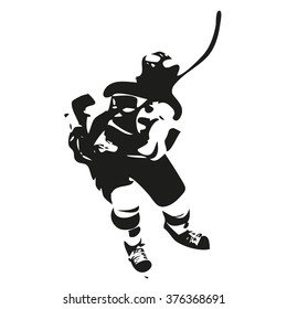 Ice hockey player abstract silhouette, vector illustration