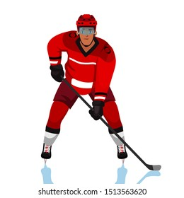 Ice hockey player flat vector illustration. Adult young man in red uniform holding hockey stick cartoon character. Professional sportsman, team member in protective gear. Goalkeeper catching puck