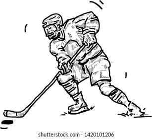 An Ice Hockey player in full protective gear hitting a puck. Hand drawn vector illustration.