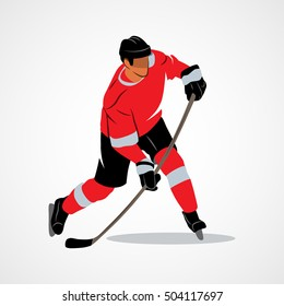 Ice hockey player hits the puck on a white background. Vector illustration.