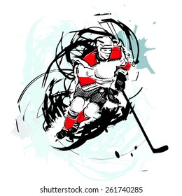 ice hockey player on watercolor background