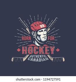 Ice hockey player in red helmet - vintage color sport logo on a dark background.