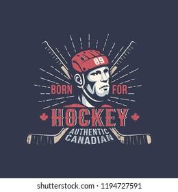 Ice hockey player in red helmet - vintage color sport logo on a dark background.