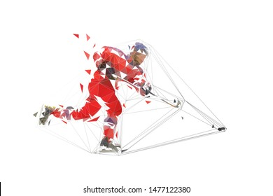 Ice hockey player in red jersey shooting puck, geometric polygonal drawing. Isolated vector illustration. Ice hockey athlete