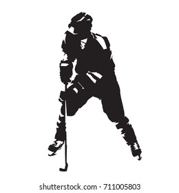 Ice hockey player skating with puck, abstract vector silhouette. Front view