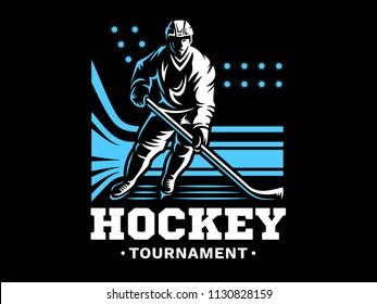 Ice hockey player at the stadium - emblem design, illustration on a black background