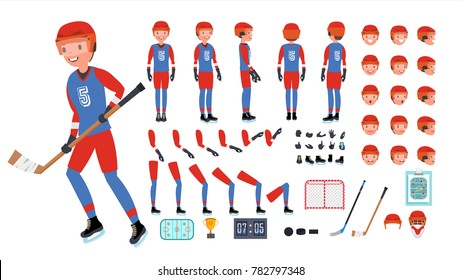 Ice Hockey Player Vector. Animated Character Creation Set. Ice Hockey Tools And Equipment. Full Length, Front, Side, Back View, Accessories, Poses, Face Emotions. Isolated Flat Cartoon Illustration