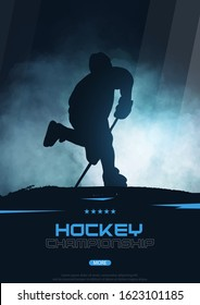 Ice Hockey poster with player and Stick