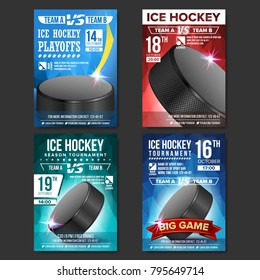 Ice Hockey Poster Set Vector. Design For Sport Bar Promotion. Ice Hockey Puck. Modern Tournament. Sport Event Announcement. Banner Advertising. Label Template Illustration