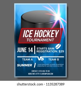 Ice Hockey Poster Vector. Banner Advertising. A4 Size. Sport Event Announcement. Winter Game, League Design. Snow. Layout. Championship Template Illustration