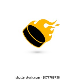 Ice hockey puck in flames. Isolated on white background. Vector illustration, eps 10.