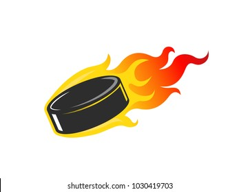 Ice hockey puck in flames vector illustration isolated on white