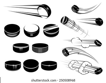 Ice hockey pucks set in cartoon style with motion trails and clouds isolated on white for sports design
