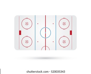 ice hockey rink with blue red skate marks vector background
