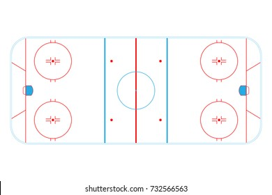 Ice hockey rink isolated on white background. Sport background.