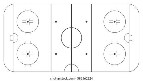 Ice hockey rink, standard markup. Vector illustration