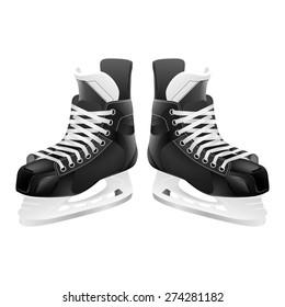 Ice hockey skates, isolated on white. Vector EPS10 illustration.