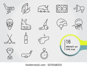 ice hockey sport line icons set, vector illustration thin