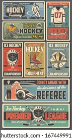 Ice hockey sport players with sticks, pucks, skates and championship trophy cup on rink vector design. Sport team uniform jersey, hockey arena and referee whistle, goalie helmet, mask and goal gate