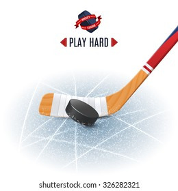 Ice hockey sport poster with wooden stick and puck realistic vector illustration