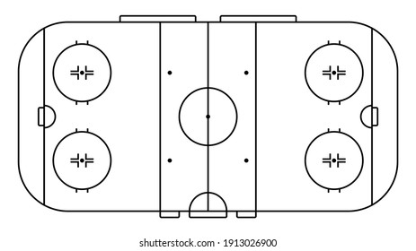 ice hockey sports court markings lines. Outline hockey playground top view. Sports ground for active recreation. Vector