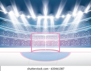 Ice Hockey Stadium with Spotlights and Red Goal. Vector Illustration.