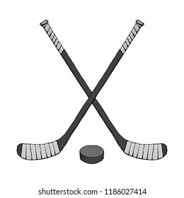 Ice Hockey stick with puck. Sports Vector illustration isolated on white background. Ice hockey sports equipment. Hand drawn stick in cartoon style..