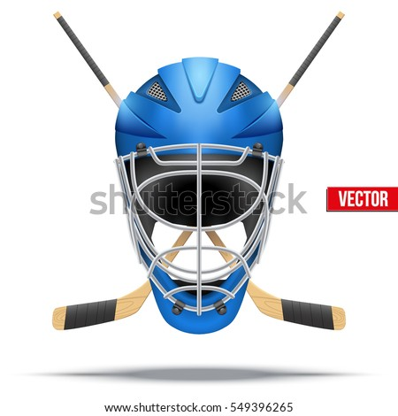 Ice Hockey Symbol Goalie Helmet Sticks Stock Vektorgrafik