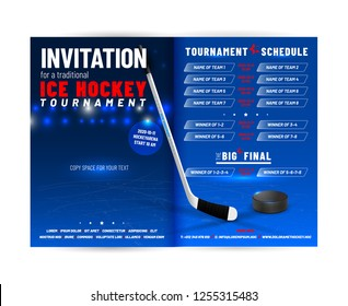Ice hockey tournament invitation template with schedule and sample text in separate layer - vector illustration