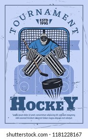 Ice hockey tournament, winter sport game competition. Hockey goalie protecting gate with stick and puck, championship match vector retro design