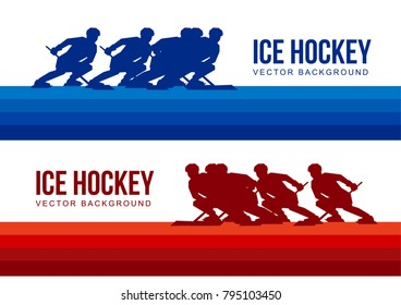 Ice Hockey vector background - red and blue player silhouettes moving with hockey-sticks. Two sport teams - poster or card header template.