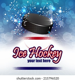 Ice hockey vector background with shiny effect and hockey puck /design with place for your content or creative editing, can be used as pc desktop, print or poster