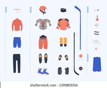 Ice hockey vector colorful collection with male hockey equipment such as under armour clothes, armour, helmet, accesorries, stick, puck and so on. Flat trendy cliparts. Isolated cartoon  illustrations