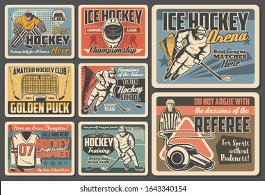 Ice hockey vector design of players, sport sticks, pucks and championship trophy cups, team uniform, skates, goalie helmets and masks, gloves, referee whistle and goal gates. Ice hockey retro posters