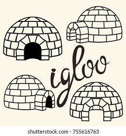 Ice house igloo set, vector simple design. House from ice blocks design for template or logo. Winter dwelling of Eskimos, minimal icon isolated on light background. Igloo realistic sign in flat style