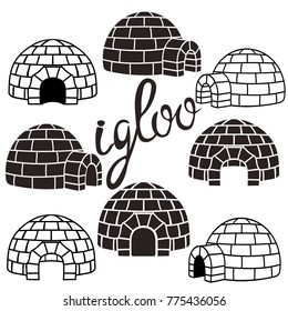 Ice house igloo set, vector simple design. House from ice blocks design for template or logo. Winter dwelling of Eskimos, minimal icon isolated on white background. Igloo realistic sign in flat style