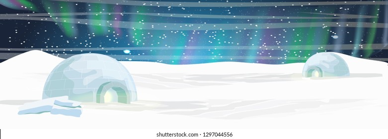Ice house igloo. Settlement Eskimos. Far North. Northern lights over the snow-covered plain. Night starry sky. Realistic vector landscape
